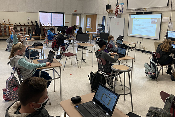 Becca Tommell's 6th grade social studies class at Gowana created presentations to be used as review by next year's 6th-grade class. This was a way to have the current students demonstrate understanding of content, as well as various presentation tools. More photos...