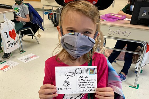In October, Mrs. Chakmakas' second grade class at Shatekon wrote to author Mac Barnett. They practiced letter writing and how to address an envelope. This week, he wrote the students postcards.