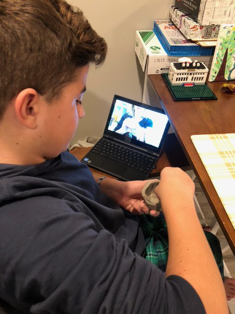 Gowana 7th Grader Kyle Louis creating his clay Among Us sculpture from home. If you could put these on the Gowana Website that would be great.