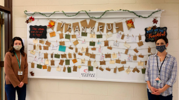 Shenendehowa High School Student Center's thankful board is filled with inspiring messages from students and teachers.