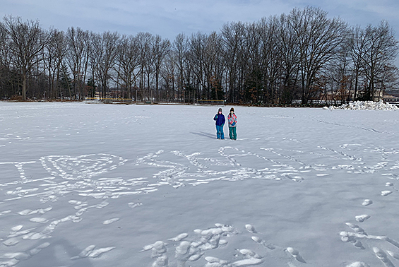 Skano students in the snow.