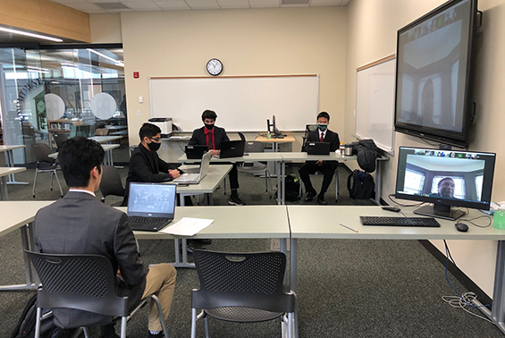 Shen students presenting live on a zoom meeting with The College of Saint Rose, participants from 5 area schools, and a panel of judges.