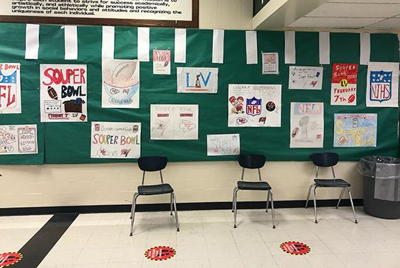 posters on bulletin board