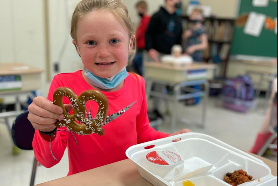 Chango students celebrate National Pretzel Day with a pretzel-themed lunch provided by the Food Service Department.