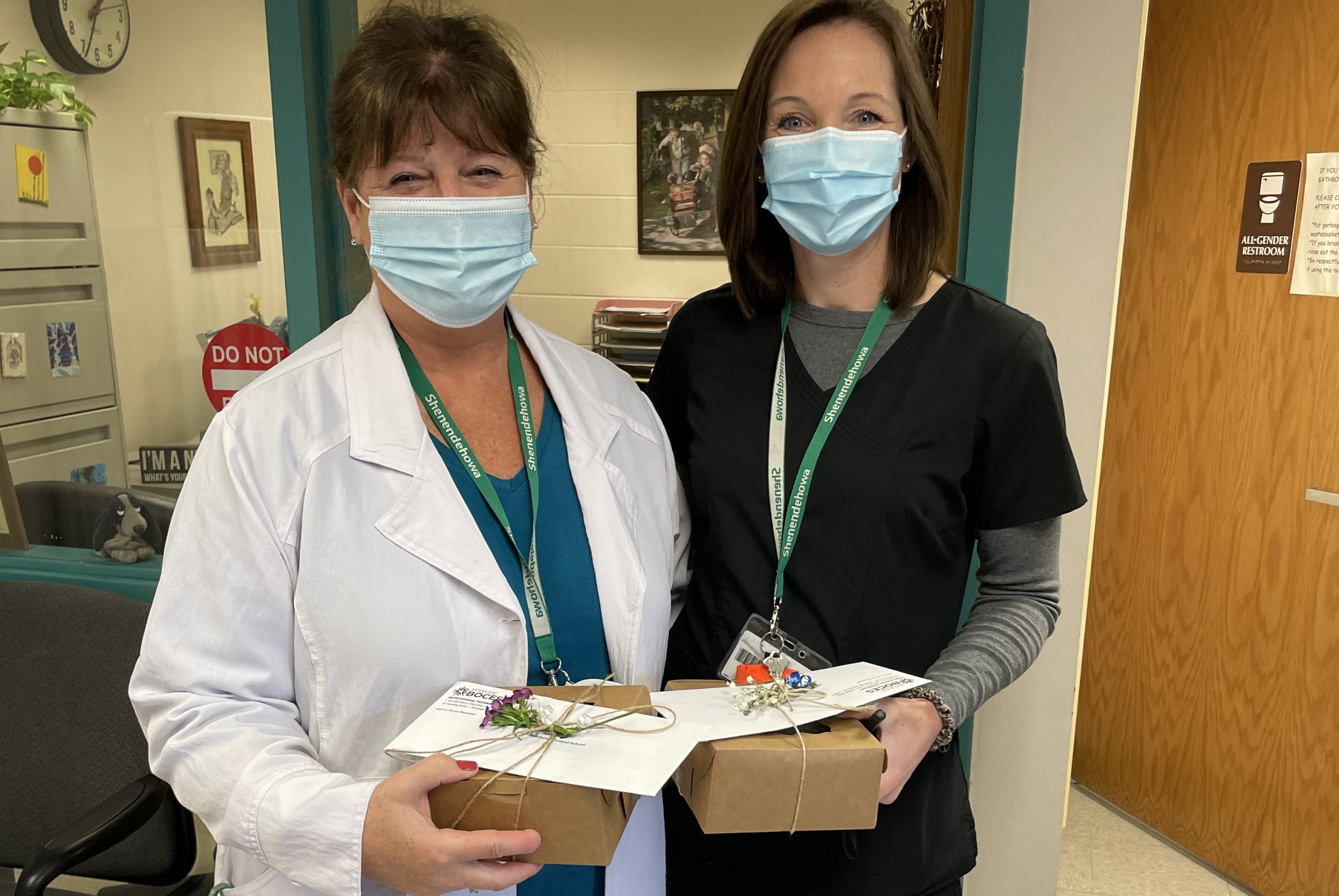 Shenendehowa nurses received a token of appreciation for their help with the Saratoga County Department of Health vaccination pods for adults. The Shenendehowa nurses, were a critical component to making this happen.