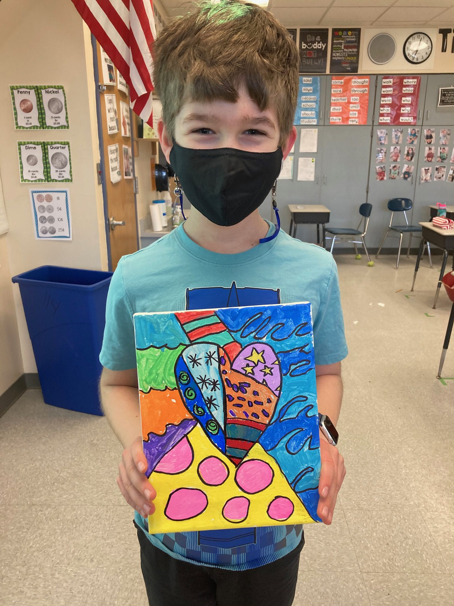 Arongen Student Council Members show Arongen Pride by completing community projects.  These fourth and fifth graders painted kindness rocks to place around their school and also painted canvases for the residents of Schuyler Ridge Nursing Home.
