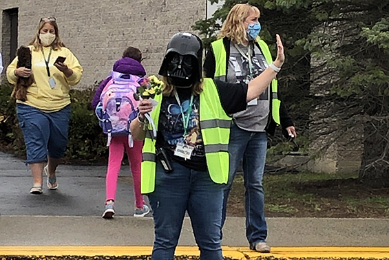 "Darth Vader came to Okte to help with arrival, and as always, ""May the 4th Be With You!"""
